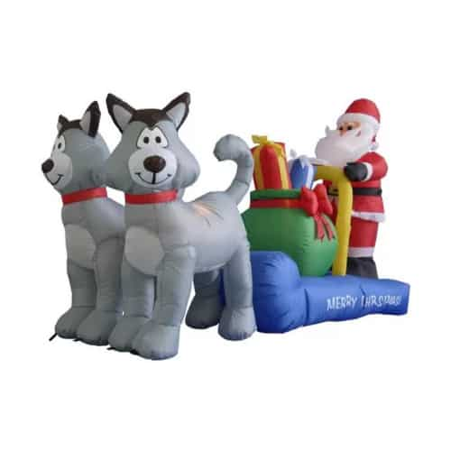 7 ft. Long Husky Sleigh with Santa | Santa and Sleigh Inflatables