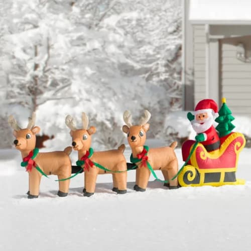 Inflatable Santa Claus on Sleigh with 3 Reindeer