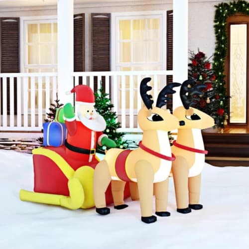 Inflatable Santa on Sleigh with Reindeer - Santa and Sleigh Inflatables